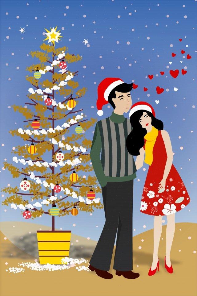 クリスマスクリスマスツリー祭りカップル イラスト素材