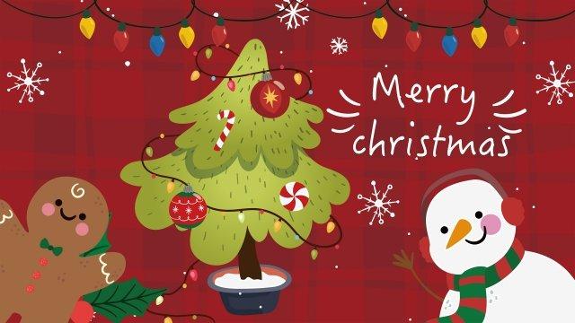 クリスマスクリスマスツリージンジャーブレッド雪だるま イラスト素材