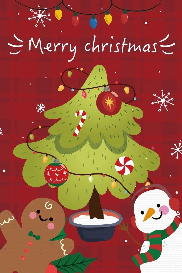 クリスマスクリスマスツリージンジャーブレッド雪だるま イラスト画像