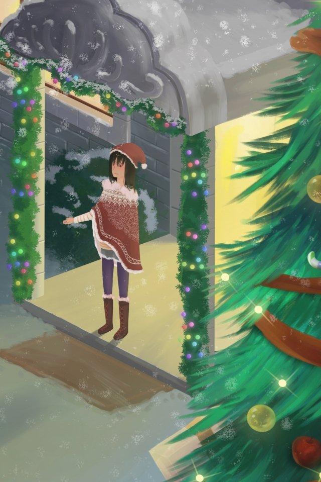 크리스마스 크리스마스 트리 눈사람 소녀 삽화 소재