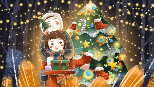 따뜻한 크리스마스 커플 사랑 삽화 소재 삽화 이미지
