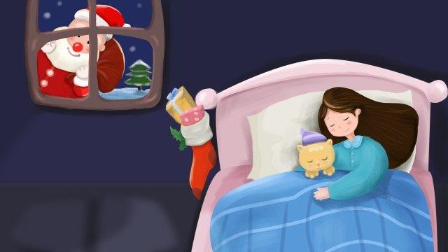 聖誕節前夕聖誕節聖誕老人去睡覺 插畫素材