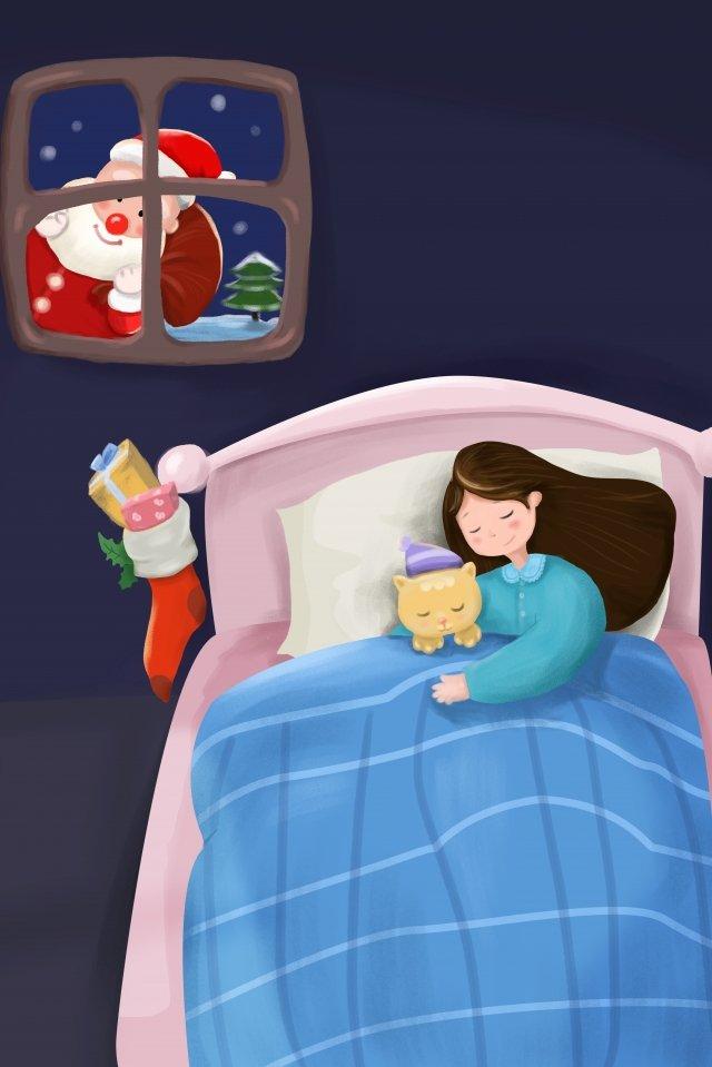 giáng sinh đêm giáng sinh santa claus đi ngủ Hình minh họa