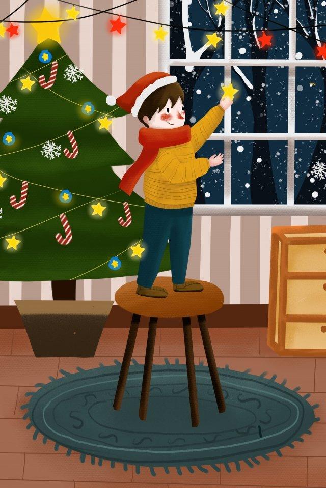 크리스마스 이브 크리스마스 트리 휴일 축하 소년 삽화 소재