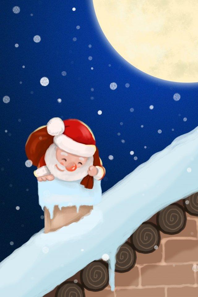 크리스마스 이브 산타 클로스 등반 굴뚝 크리스마스 삽화 소재