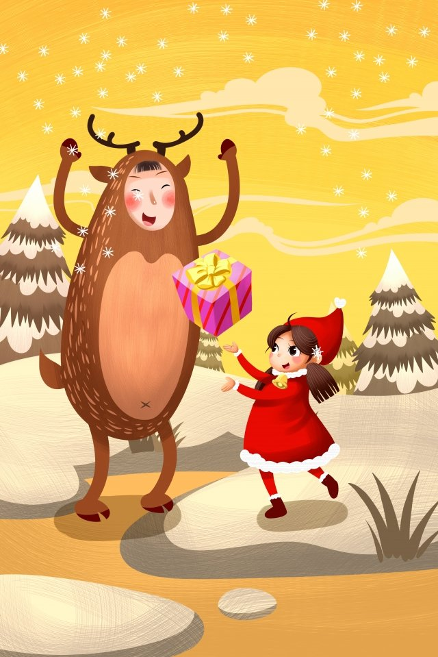 크리스마스 축제 크리스마스 엘크 삽화 이미지
