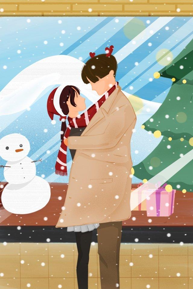 クリスマス幸せなカップル暖かい イラストレーション画像 イラスト画像