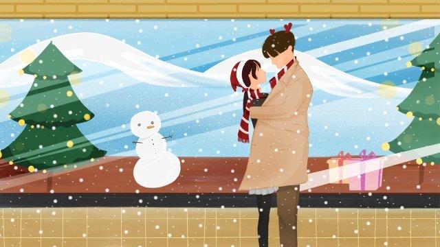 クリスマス幸せなカップル暖かい イラスト素材 イラスト画像
