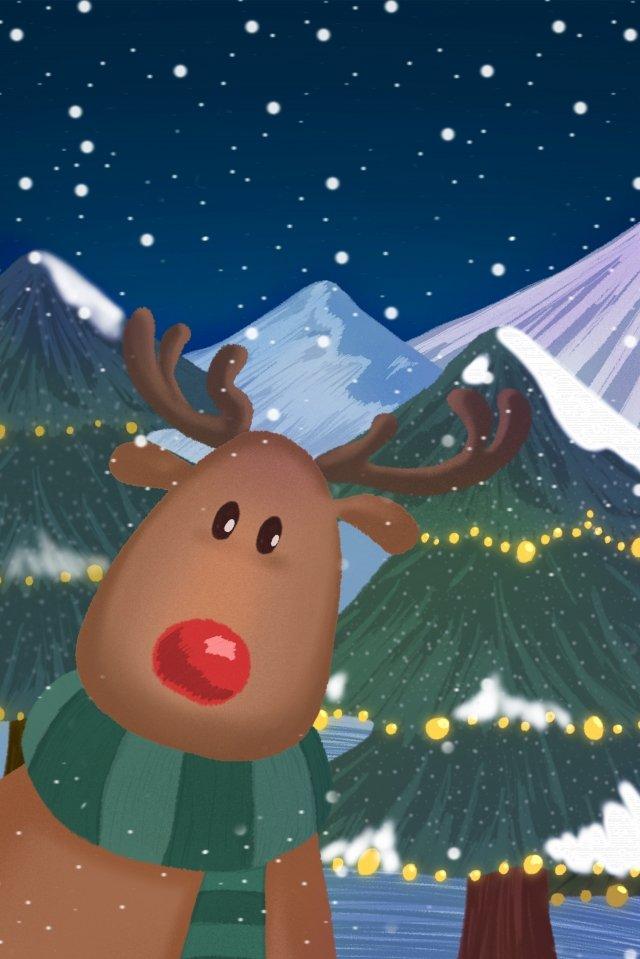 クリスマス幸せなトナカイ暖かい イラストレーション画像 イラスト画像