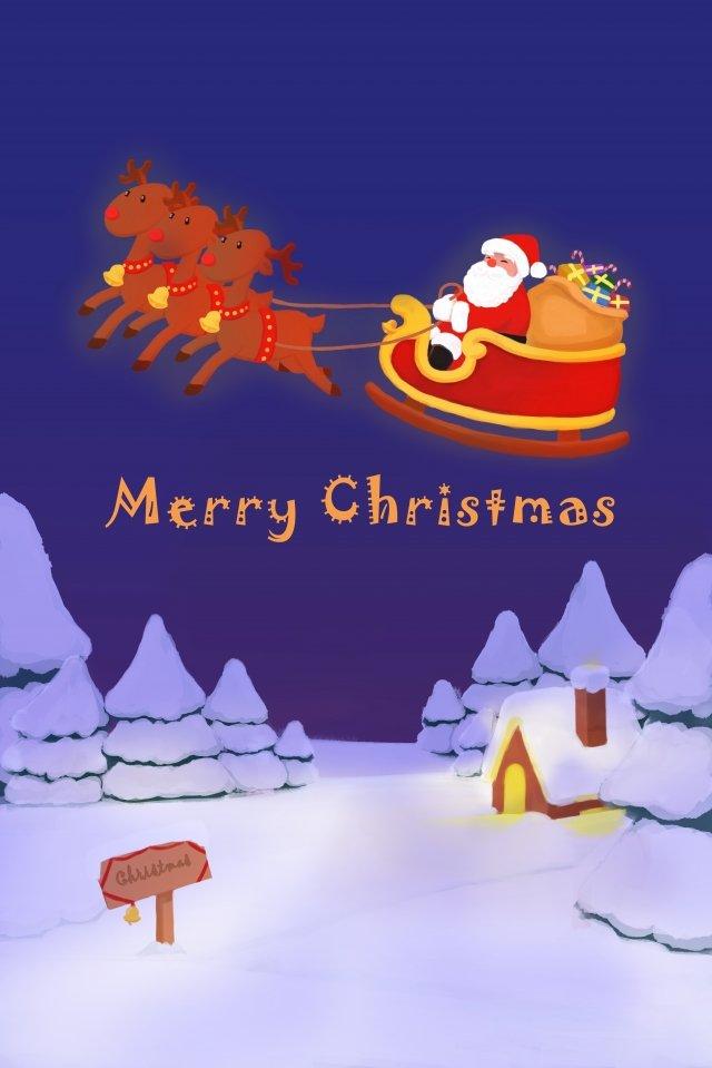 크리스마스 산타 클로스 엘크 선물 삽화 소재