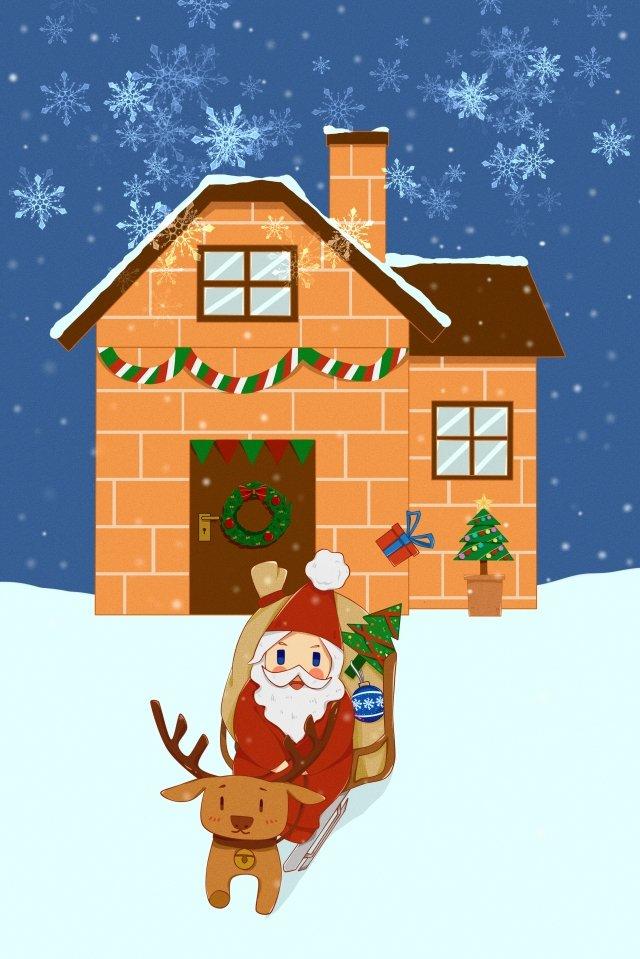 عيد الميلاد سانتا كلوز الأيائل إرسال هدية مواد الصور المدرجة