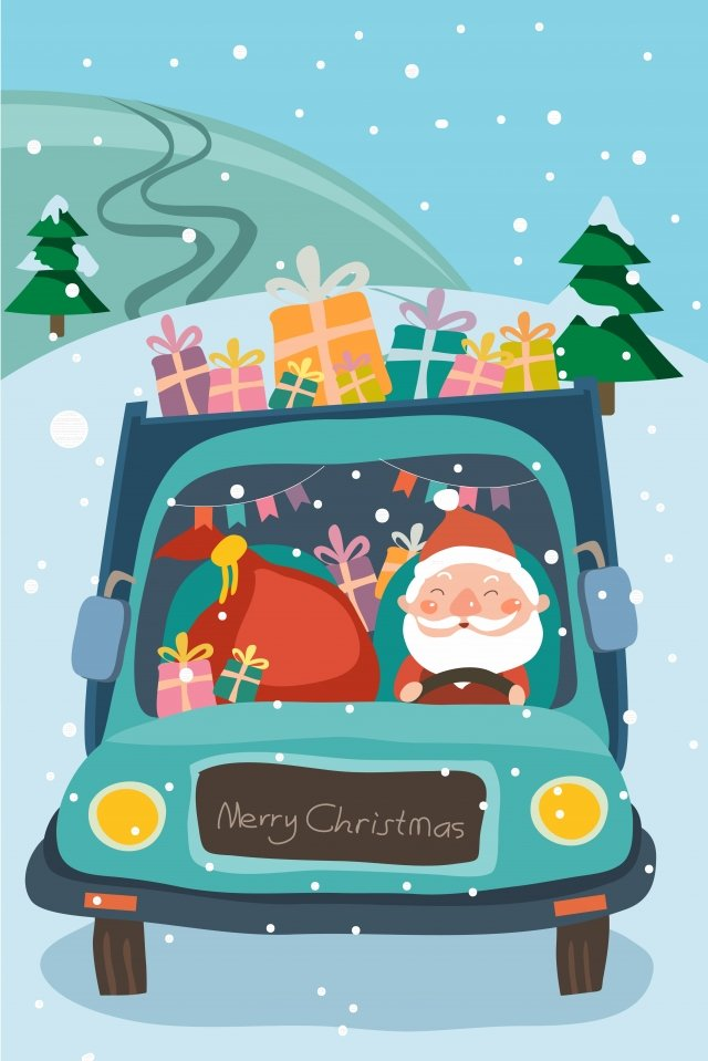 рождество санта клаус подарок грузовик Ресурсы иллюстрации
