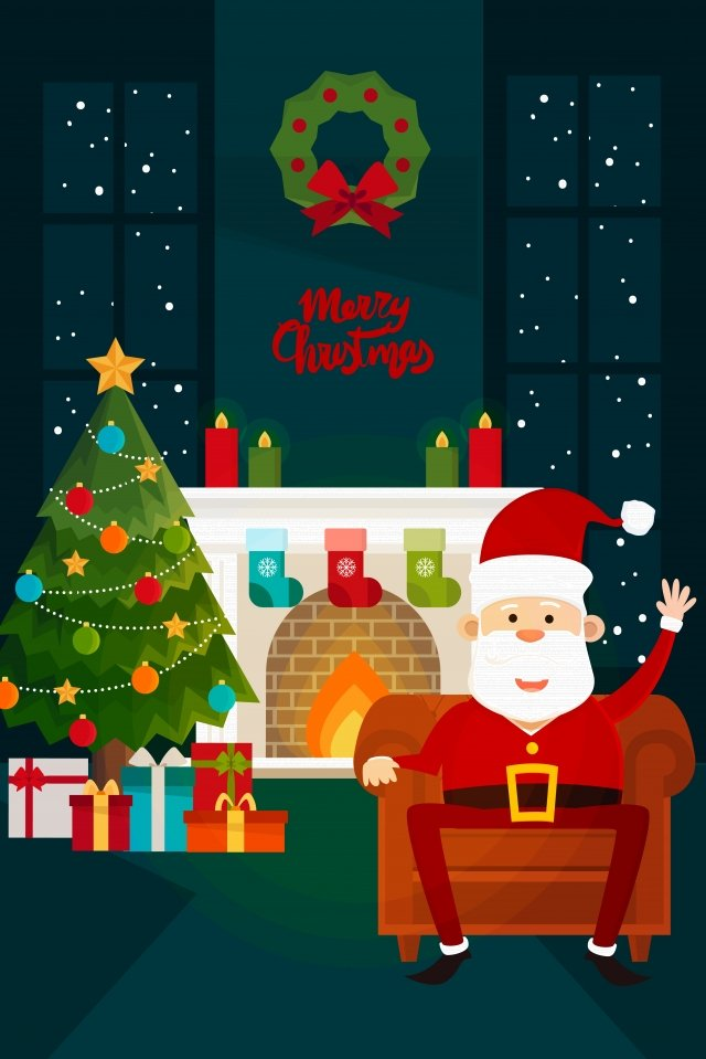 christmas santa claus indoor decorations christmas tree, Late At Night, Stove, Merry Christmas illustration image