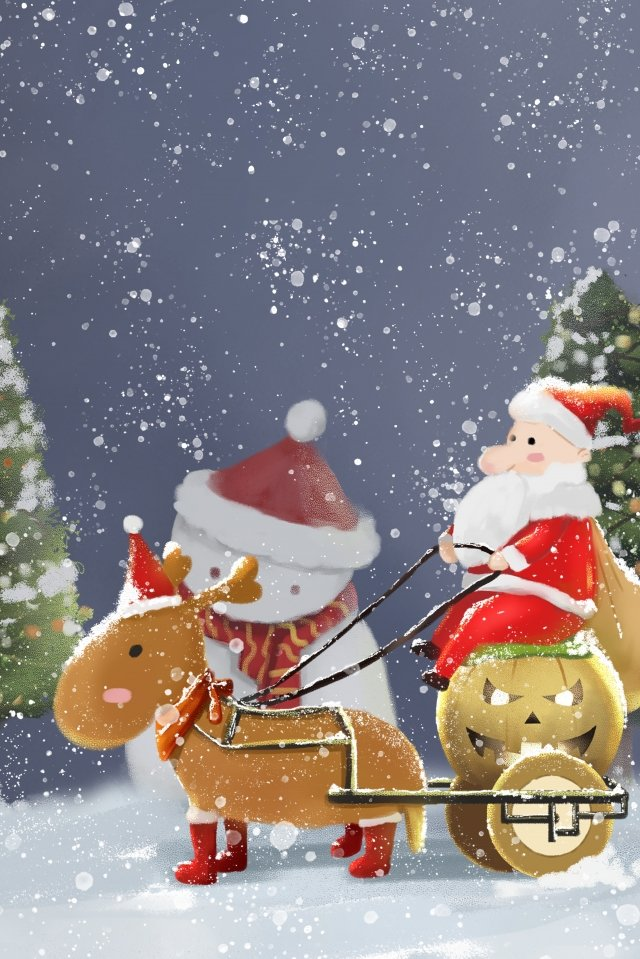giáng sinh santa claus tuần lộc xe bí ngô Hình minh họa