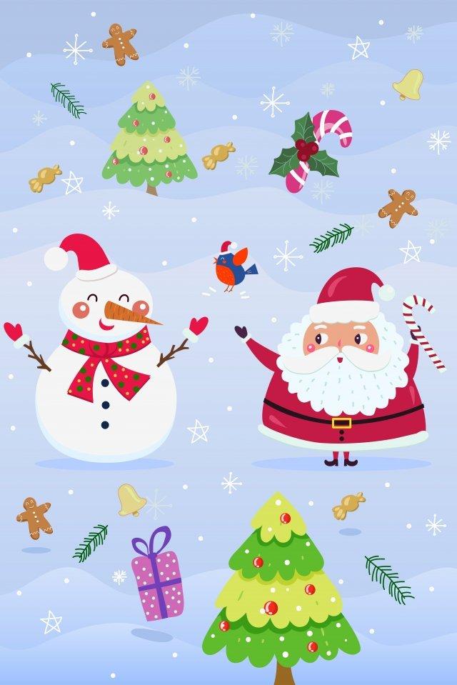 크리스마스 산타 클로스 눈사람 작은 새 삽화 소재
