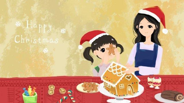 クリスマスの姉妹家族の母と娘 イラスト素材 イラスト画像