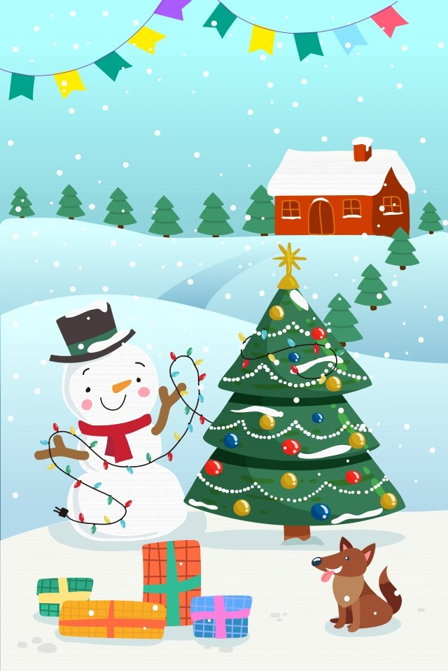 クリスマス雪だるまギフトクリスマスツリー イラスト素材 イラスト画像