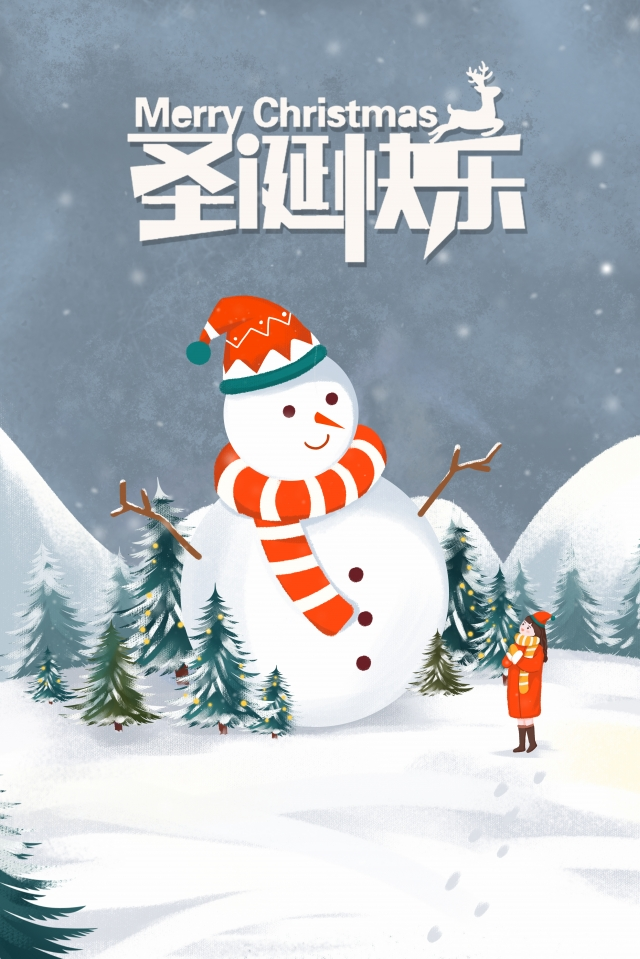 크리스마스 눈사람 어린 소녀 흰색 삽화 이미지