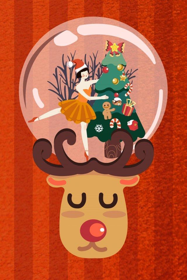 聖誕溫暖少女芭蕾舞 插畫素材