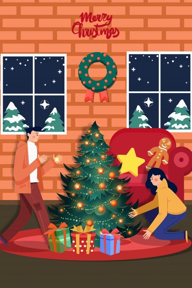Cartoon giáng sinh cây Giáng sinh trang trí nội thất minh họa Giáng sinh Mùa đông MùaGiáng  Nội  Thất PNG Và Vector illustration image