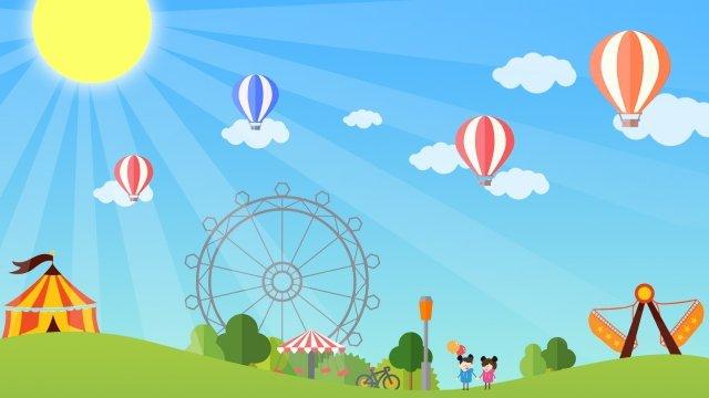 circus ferris wheel big pendulum boy llustration image