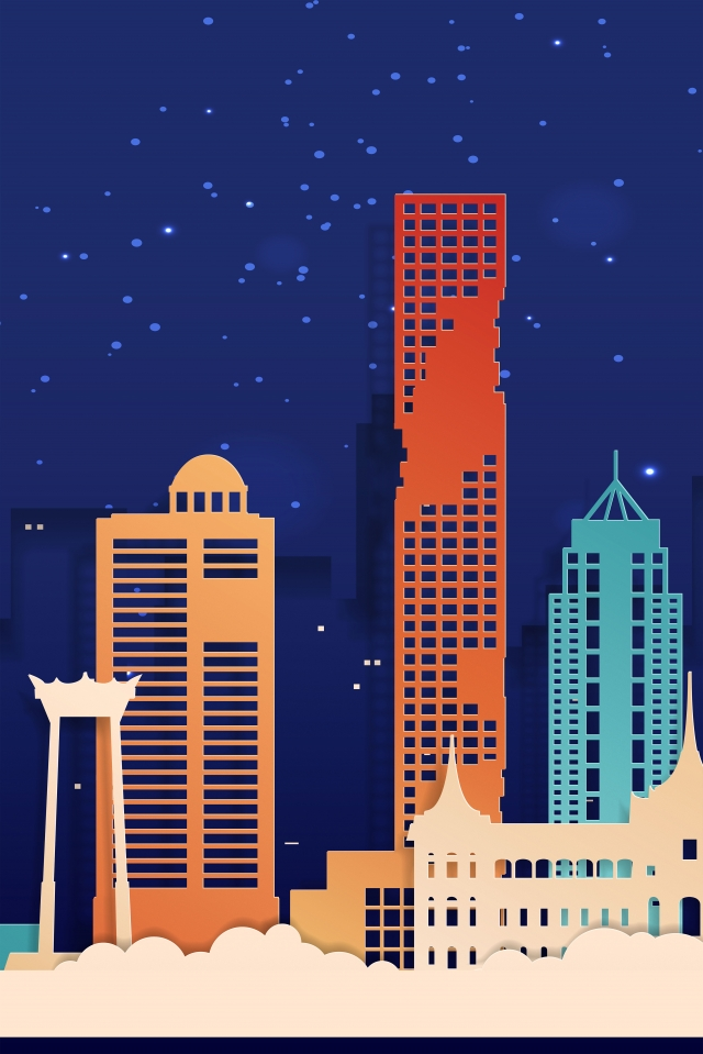 市建物紙カットスタイル夜のアトラクション夜 イラストレーション画像