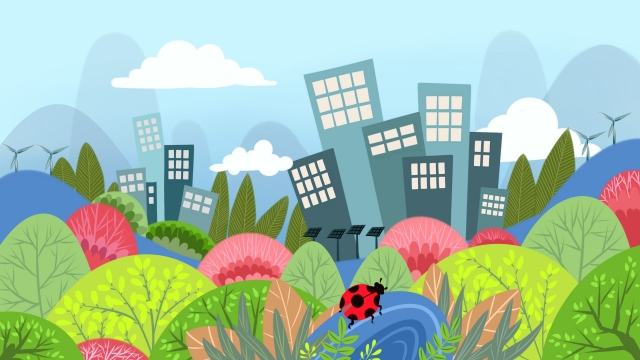 city ​​greening environmental protection green health environmental greening llustration image illustration image