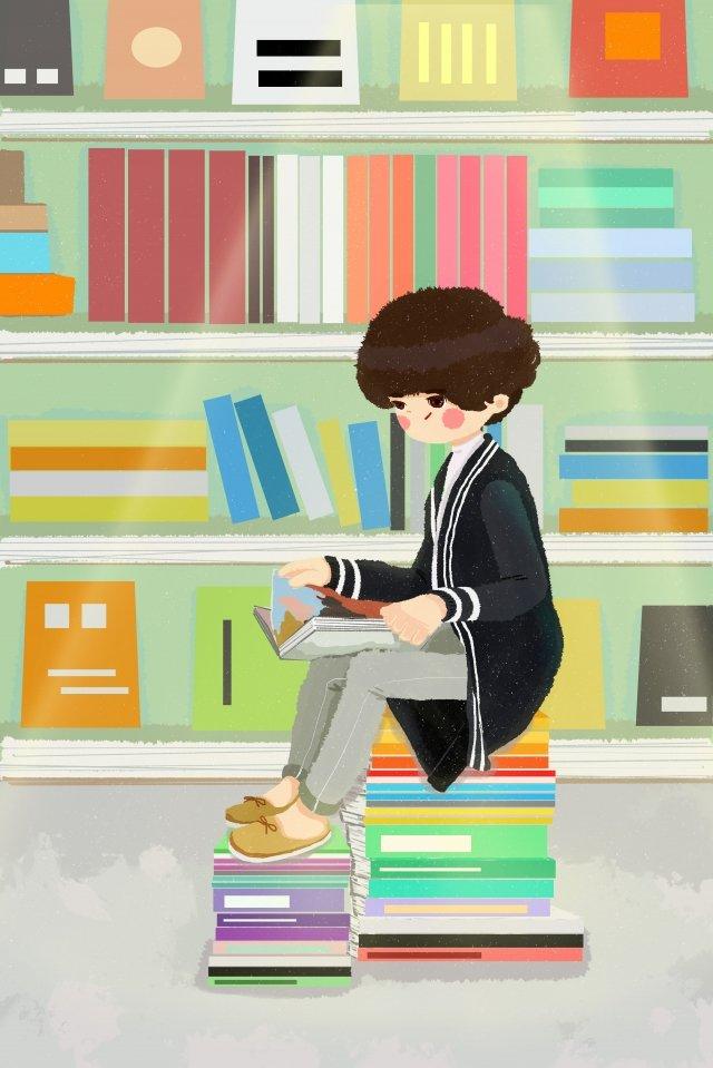 市の書店の読書少年 イラスト素材 イラスト画像