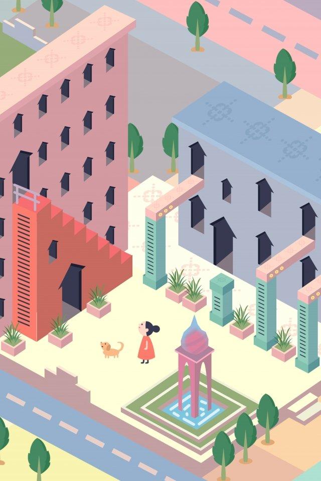 city building life girl llustration image