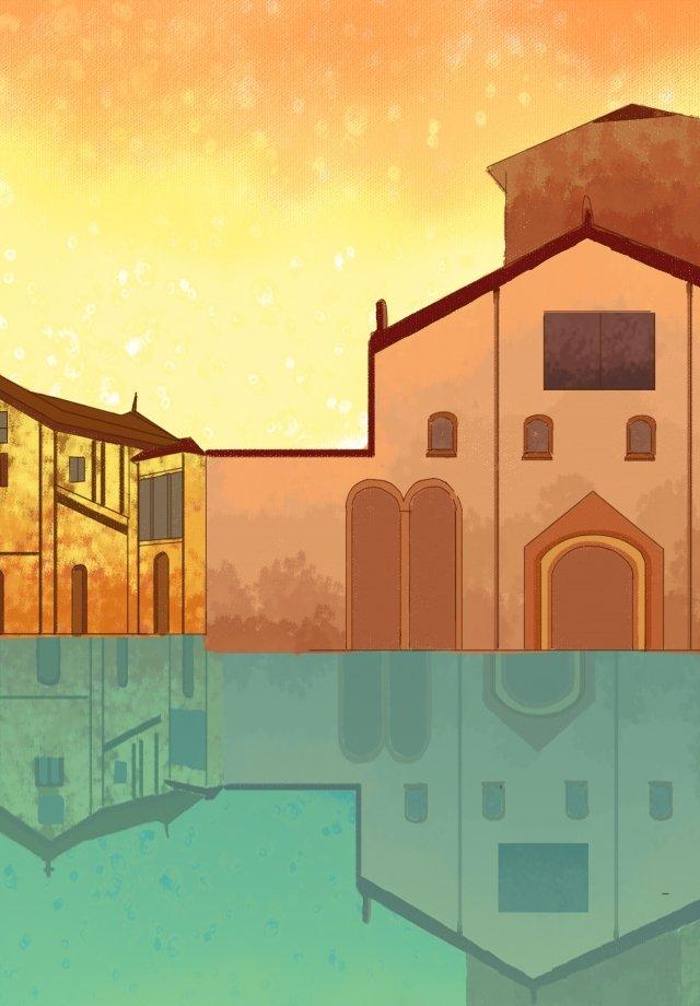 도시 매력 명소 손으로 그린 그림 건물 삽화 소재 삽화 이미지