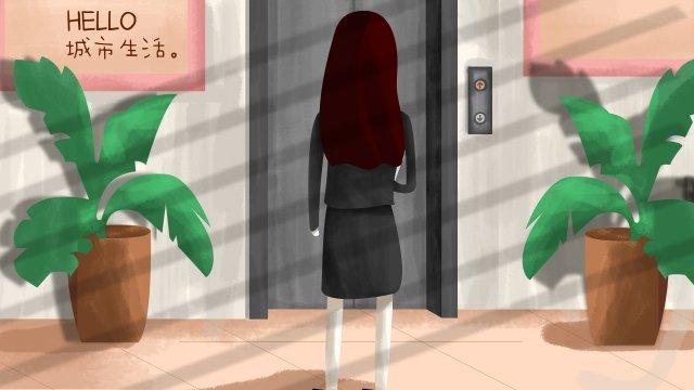 city girl plant elevator llustration image illustration image