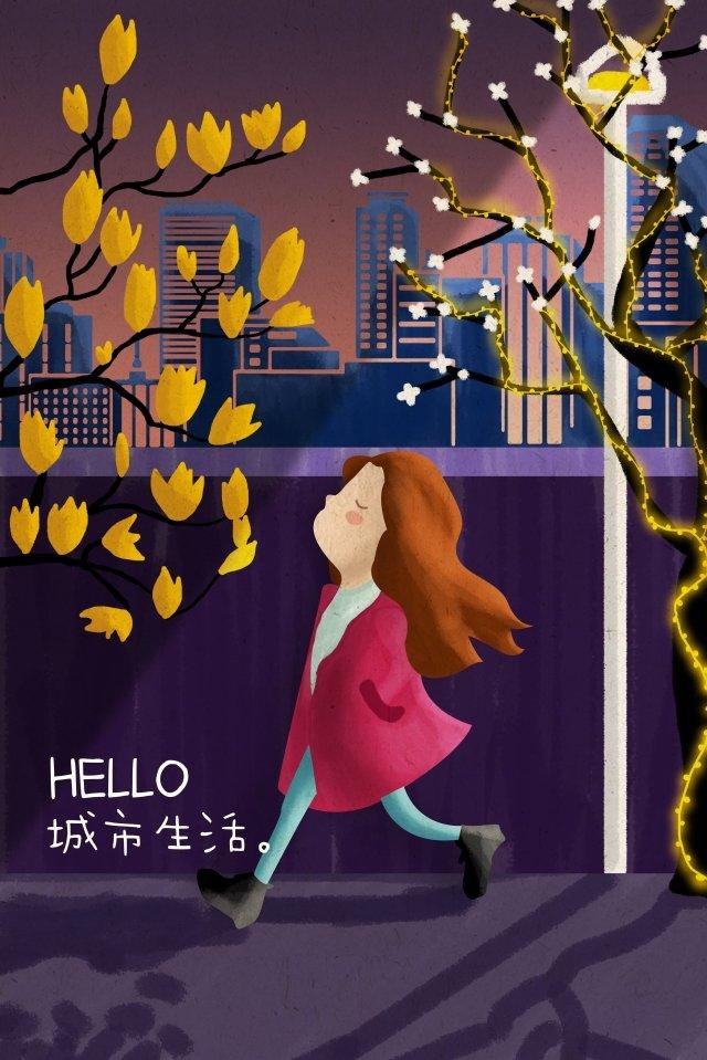 city girl street light street llustration image