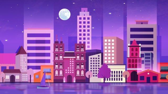 городской пейзаж ночной вид парусная лодка Ресурсы иллюстрации