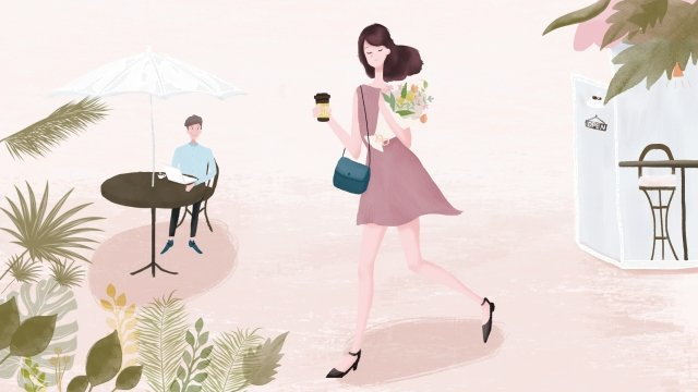 city life coffee girl llustration image illustration image