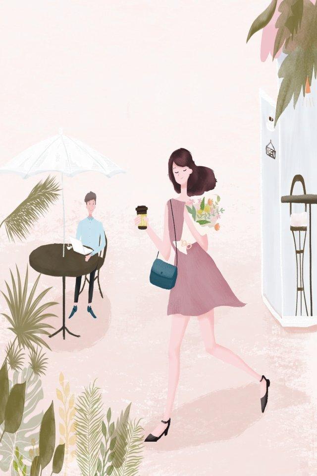 city life coffee girl llustration image