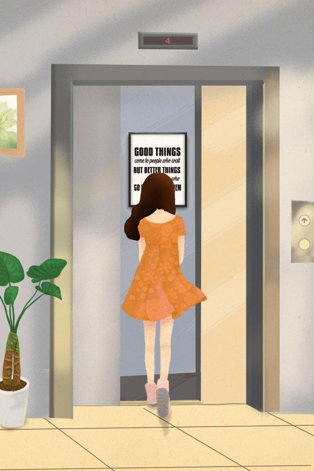 city life elevator office building llustration image