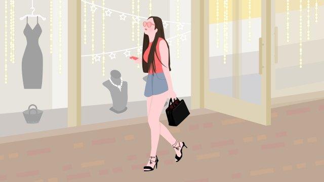 city life fashion girl llustration image illustration image