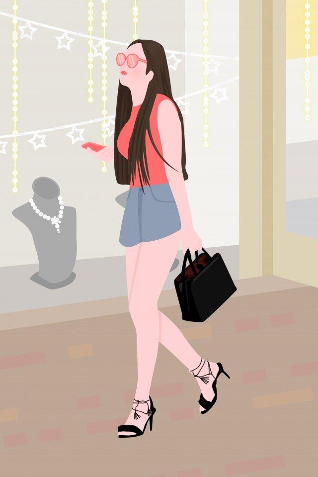 city life fashion girl llustration image