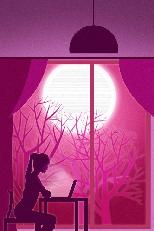 UI風市生活窓口仕事イラスト 市 人生 窓の前で 仕事 コンピュータ 残業 木 シルエット 月 木の影 UIスタイル イラストUI風市生活窓口仕事イラスト  市  人生 PNGおよびPSD illustration image