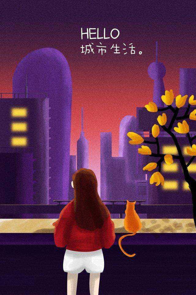 都市生活の仕事の夜 イラストレーション画像