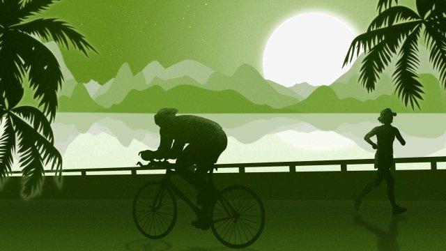 城市生活早上鍛煉自行車 插畫素材 插畫圖片