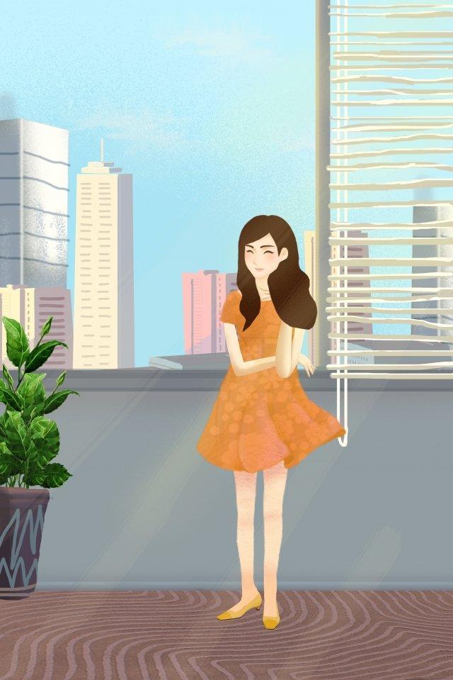 city life office window illustration image