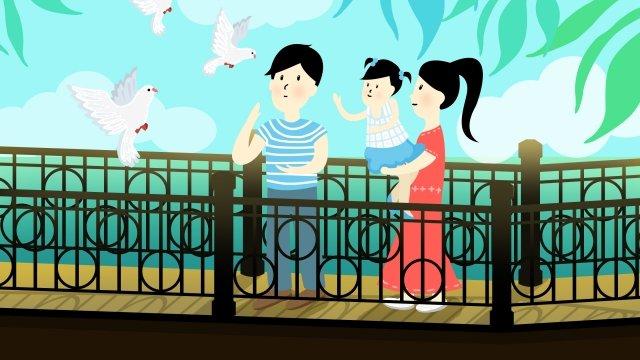 城市生活夏季鴿子 插畫素材