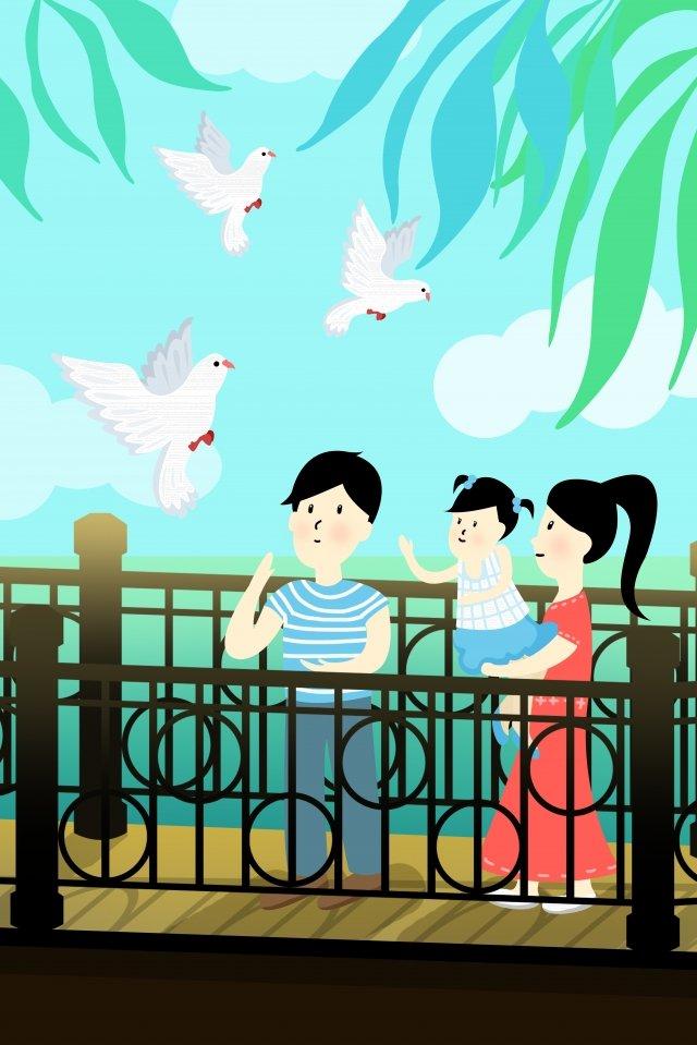 城市生活夏季鴿子 插畫圖片