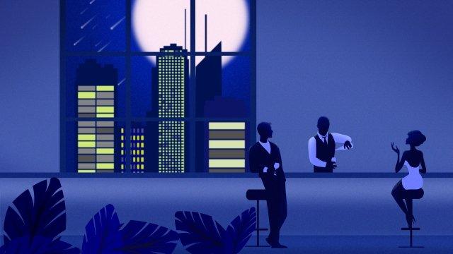 city night hotel bar llustration image