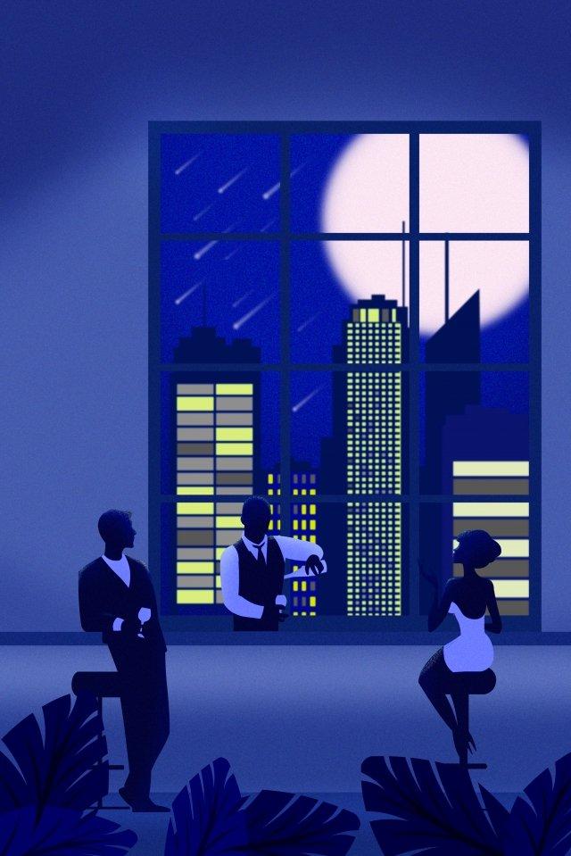 도시 밤 호텔 바 삽화 소재