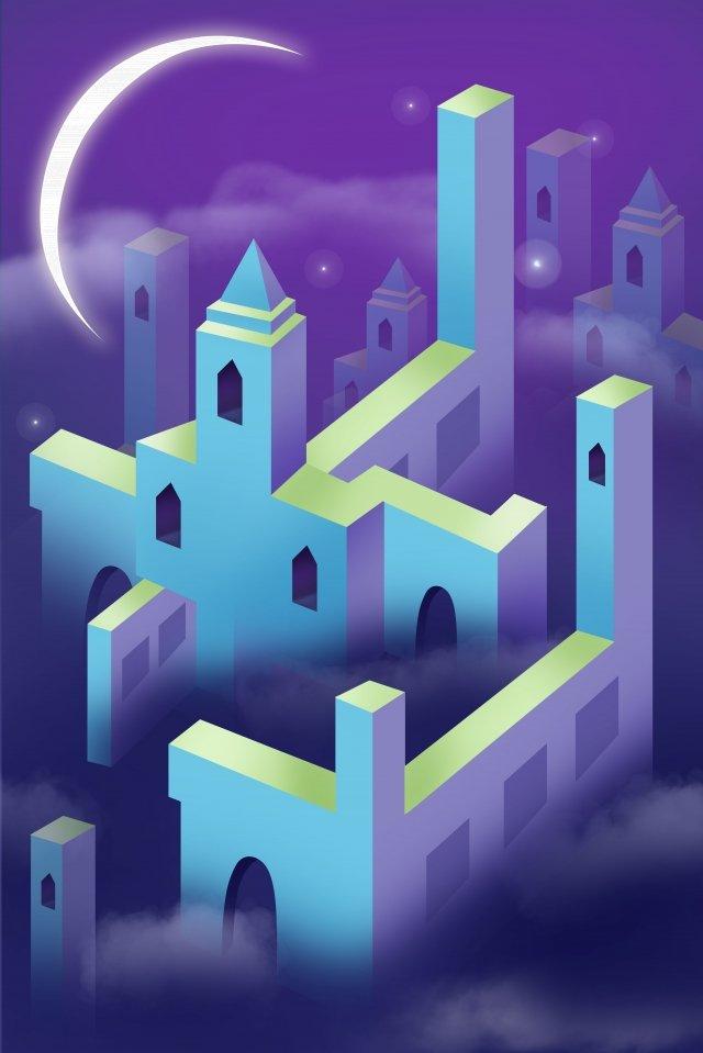 city night moon star llustration image