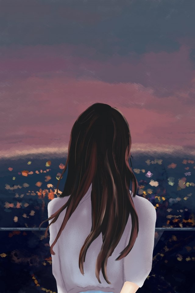 city night view lookout girl, Beautiful, Literary, City illustration image