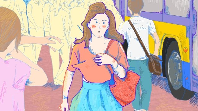 city office worker bus travel, Female, Career, Hand Painted illustration image