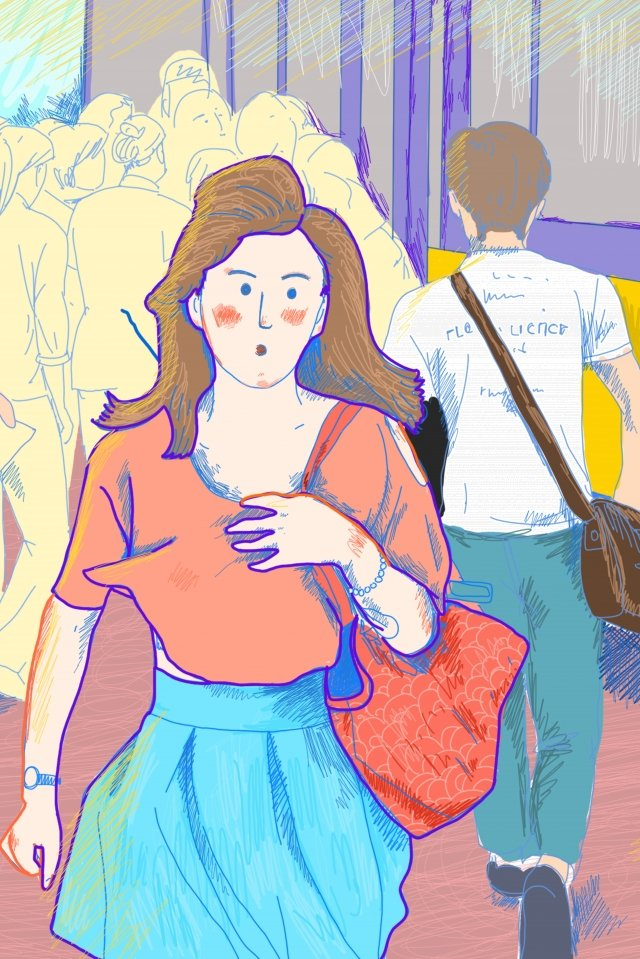 city office worker bus travel illustration image